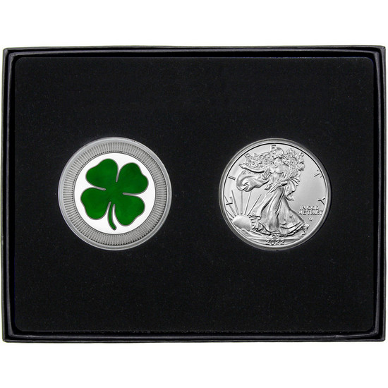 Four Leaf Clover Stackables Enameled Silver Round and Silver American Eagle 2pc Gift Set