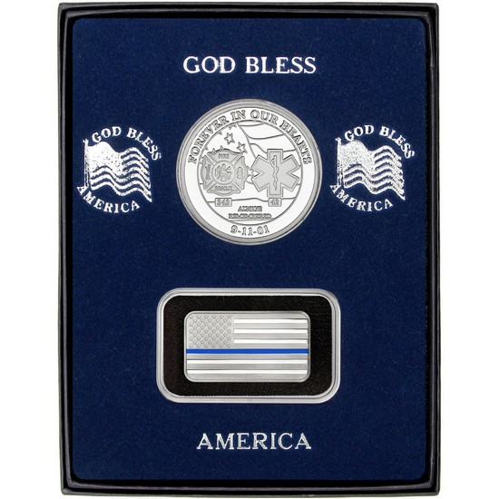 9/11 Tribute Silver Medallion and Half Ounce Blue Line Enameled American Flag Silver Bar 2pc Gift Set