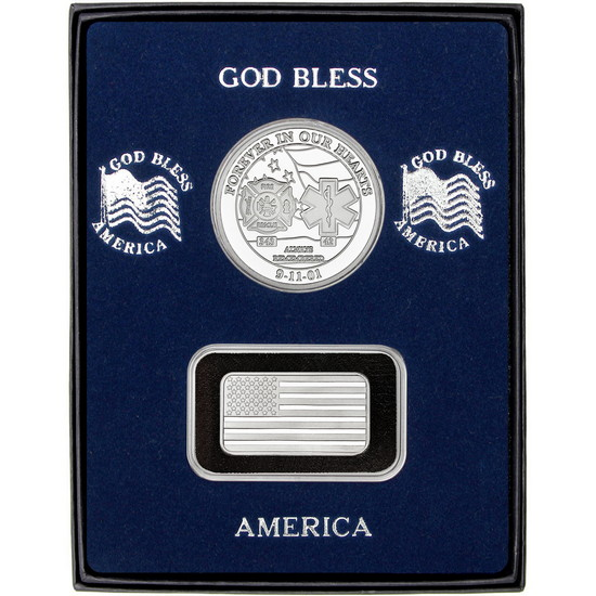 9/11 Tribute Silver Medallion and Half Ounce American Flag Silver Bar 2pc Gift Set