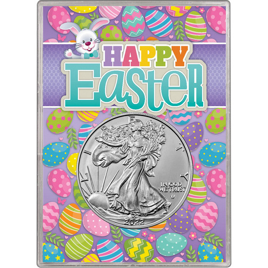 2021 Silver American Eagle BU in Happy Easter Gift Holder