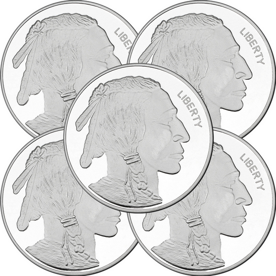 2017 Buffalo Replica 5oz .999 Silver Medallion 5pc
