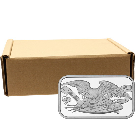 Retro SilverTowne Eagle and Shield 1oz .999 Silver Bar 500pc