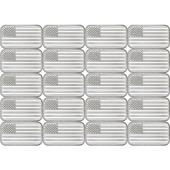 American Flag 1oz .999 Silver Bar 20pc