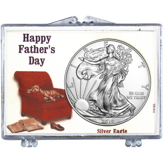 2017 Silver American Eagle Happy Father's Day Dog in Chair Snaplock