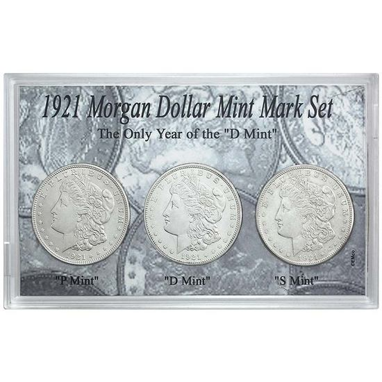 1921 P, D & S Morgan Silver Dollar Mint Mark 3pc Set