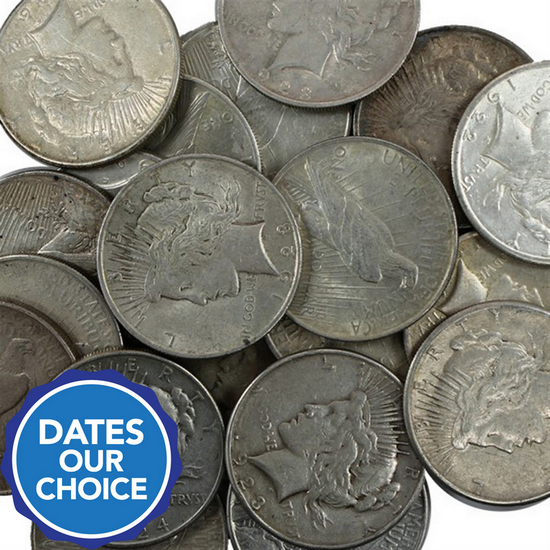 Silver Peace Dollar Tube of 20pc Dates Our Choice VG-XF