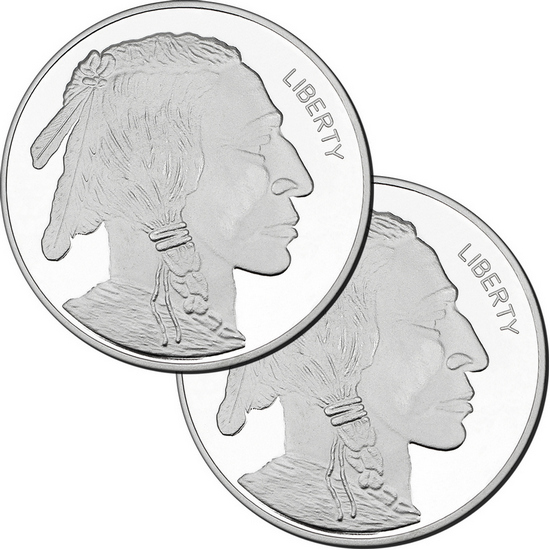 2017 Buffalo Replica 5oz .999 Silver Medallion 2pc