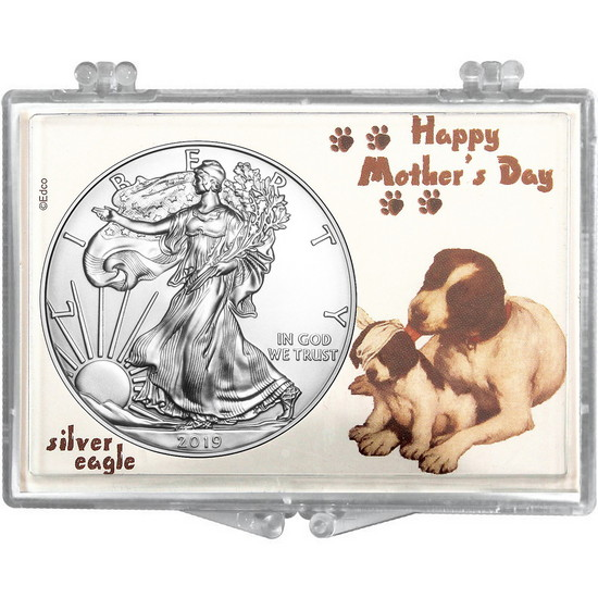 2017 Silver American Eagle Happy Mother's Day Dogs Snaplock