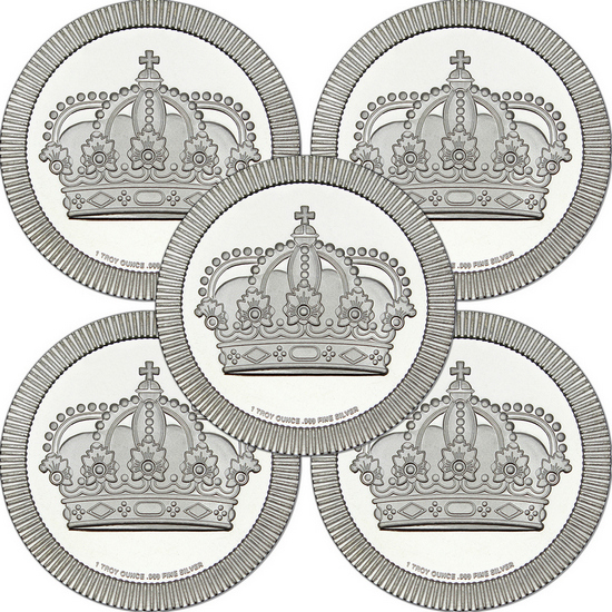 Crown Stackables 1oz .999 Silver Medallion 5pc