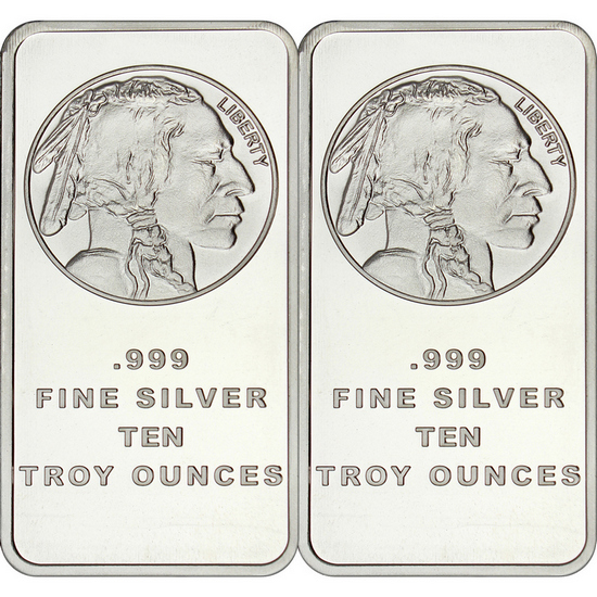 Buffalo Replica 10oz .999 Silver Bar 2pc