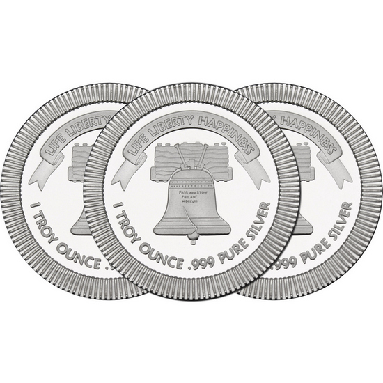 Liberty Bell Stackables 1oz .999 Silver Medallion 3pc