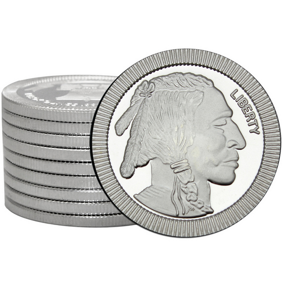 Buffalo Replica Stackables 1oz .999 Silver Medallion 10pc