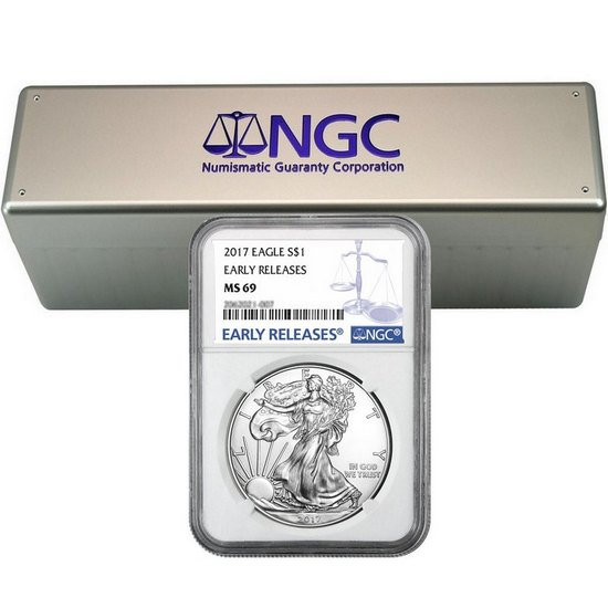 2017 Silver American Eagle MS69ER NGC Blue Label 20pc in NGC Box