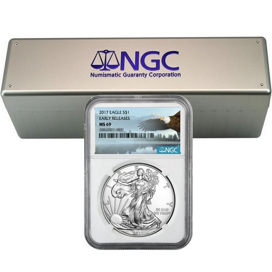 2017 Silver American Eagle MS69ER NGC Bald Eagle Label 20pc in NGC Box