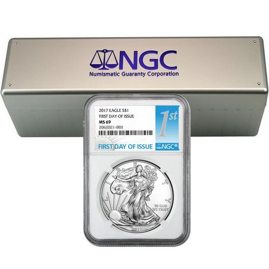 2017 Silver American Eagle MS69 FDI NGC 1st Label 20pc in NGC Box