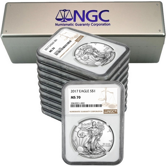 2017 Silver American Eagle MS70 NGC Brown Label  10pc in NGC Box
