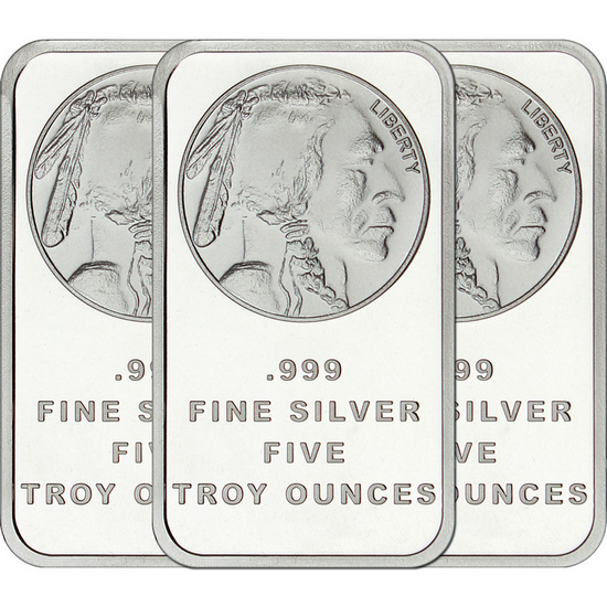 Buffalo Replica 5oz .999 Silver Bar 3pc