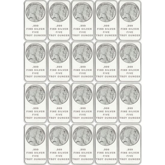 Buffalo Replica 5oz .999 Silver Bar 20pc