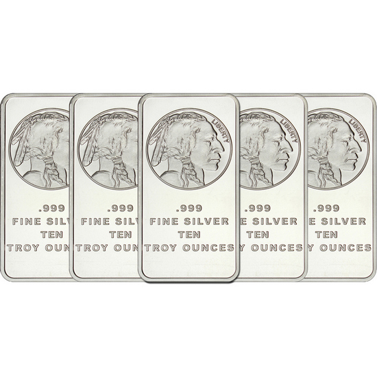 Buffalo Replica 10oz .999 Silver Bar 5pc