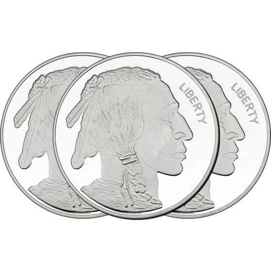 2017 Buffalo Replica 5oz .999 Silver Medallion 3pc
