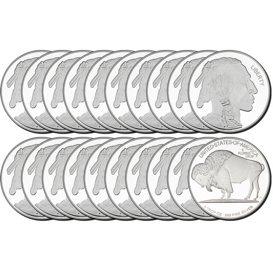 2017 Buffalo Replica 5oz .999 Silver Medallion 20pc