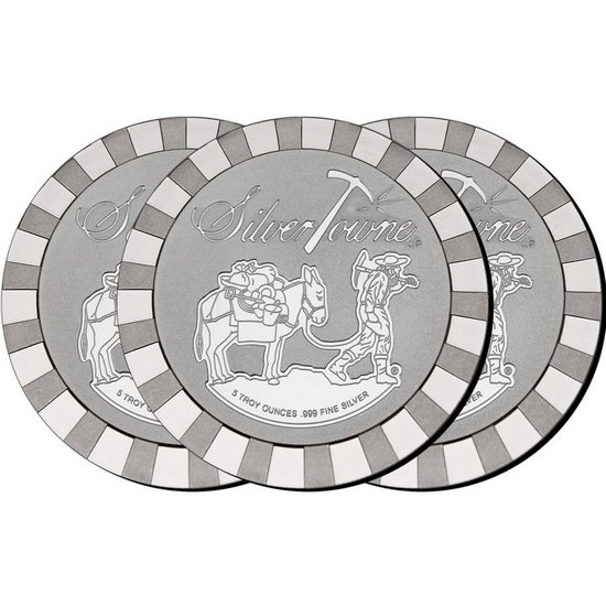 SilverTowne Stackables™ Trademark Prospector 5oz .999 Silver Medallion 3pc
