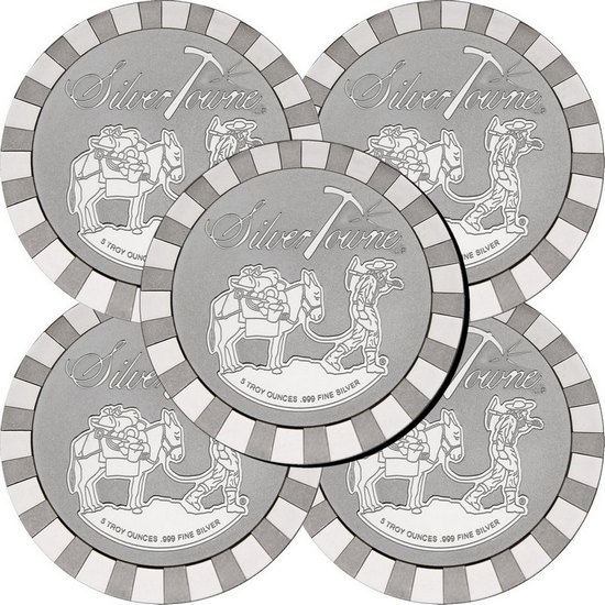 SilverTowne Stackables™ Trademark Prospector 5oz .999 Silver Medallion 5pc