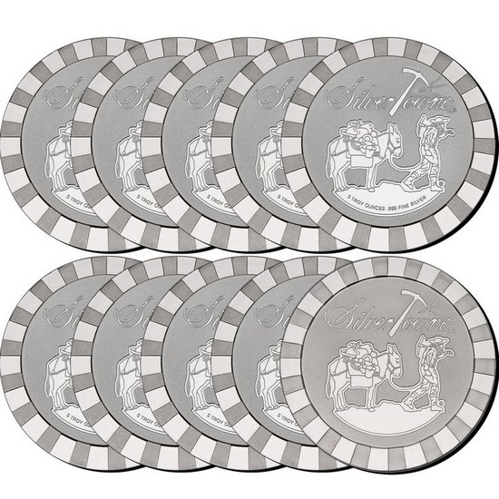 SilverTowne Stackables™ Trademark Prospector 5oz .999 Silver Medallion 10pc