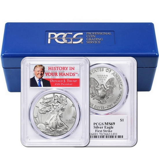 "2017 Silver American Eagle MS69FS PCGS Donald J. Trump ""History In Your Hands"" Label 10pc in PCGS Box"