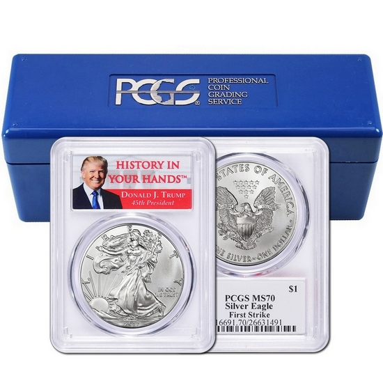"2017 Silver American Eagle MS70FS PCGS Donald J. Trump ""History In Your Hands"" Label 10pc in PCGS Box"
