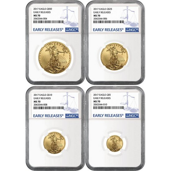 2017 Gold American Eagle 1oz ($50) Half Ounce ($25) Quarter Ounce ($10) and Tenth ($5) Ounce 4pc Set MS70 ER NGC Blue Label