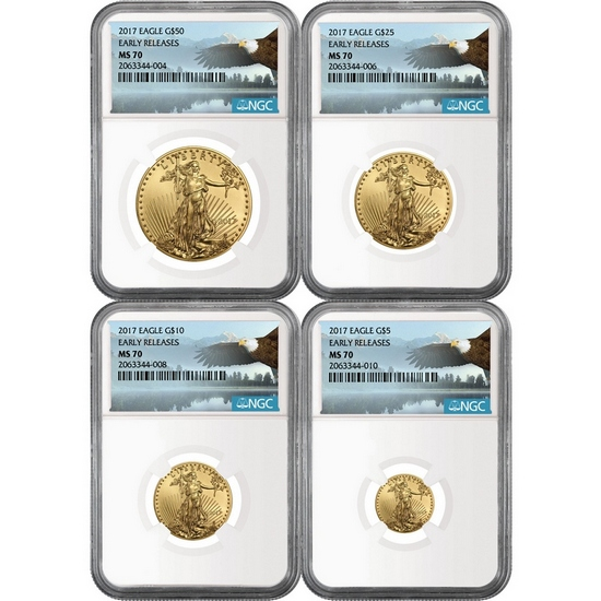 2017 Gold American Eagle 1oz ($50) Half Ounce ($25) Quarter Ounce ($10) and Tenth ($5) Ounce 4pc Set MS70 ER NGC Bald Eagle Label