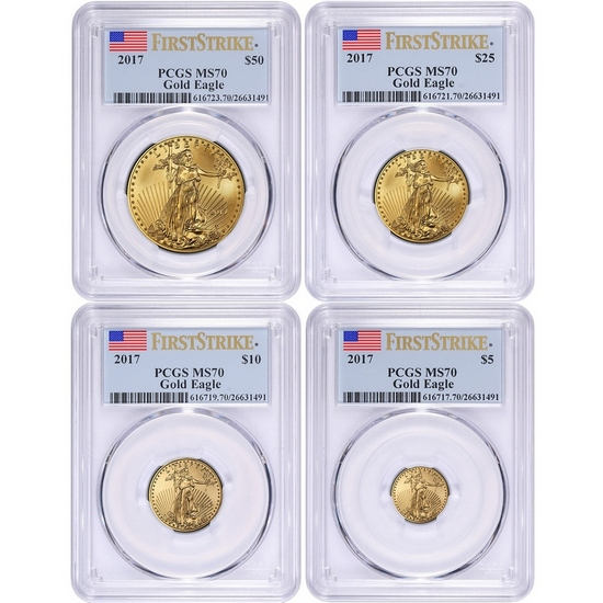 2017 Gold American Eagle 1oz ($50) Half Ounce ($25) Quarter Ounce ($10) and Tenth ($5) Ounce 4pc Set MS70 FS PCGS Flag Label