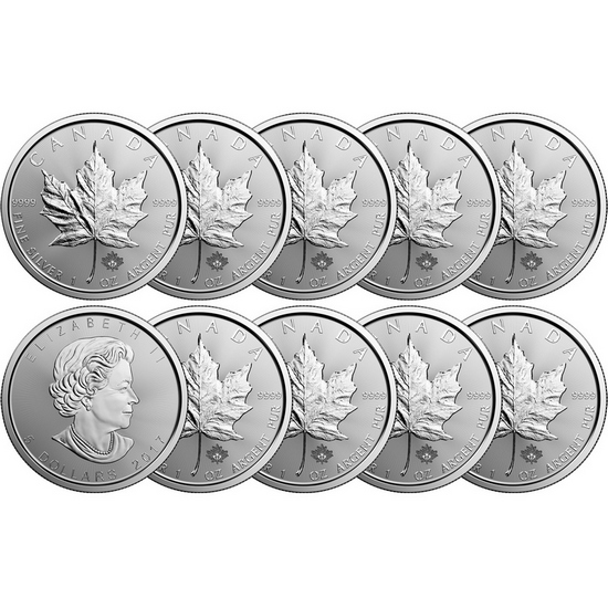 2017 Canada Silver Maple Leaf 1oz BU 10pc