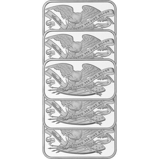 Retro SilverTowne Eagle and Shield 1oz .999 Silver Bar 5pc