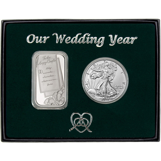 Our Wedding Year Silver Bar and Silver American Eagle 2pc Box Set