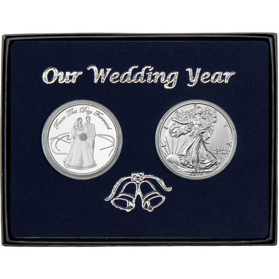 Our Wedding Year Silver Couple Round and Silver American Eagle 2pc Box Set