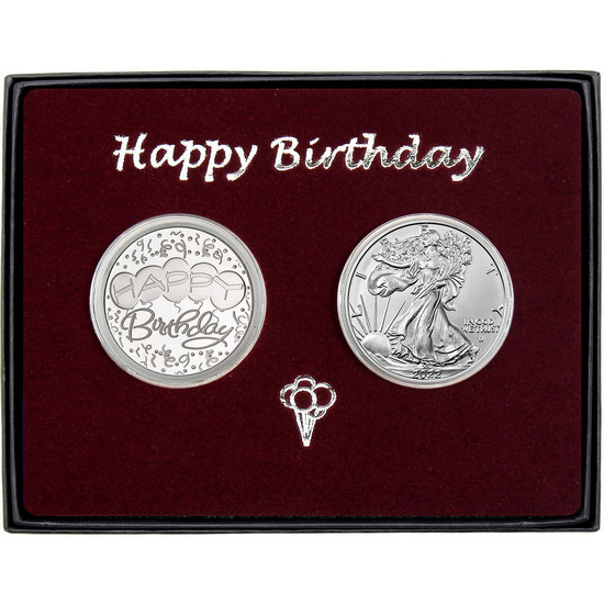 Happy Birthday Silver Round and Silver American Eagle 2pc Box Set