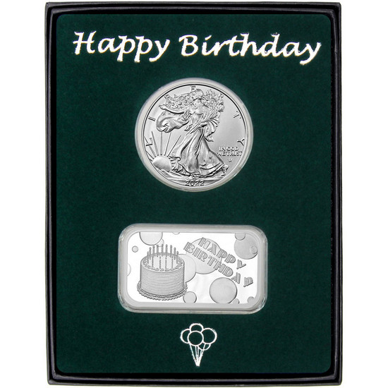 Happy Birthday Silver Bar and Silver American Eagle 2pc Box Set