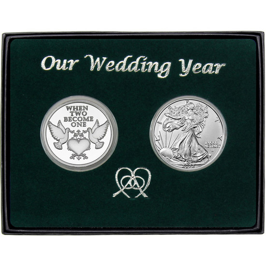 Our Wedding Year Silver Doves Round and Silver American Eagle 2pc Box Set