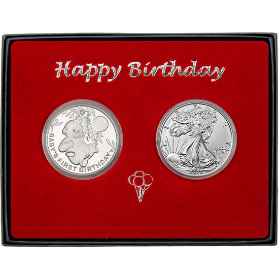 Baby's First Birthday Birthday Silver Round and Silver American Eagle 2pc Box Set