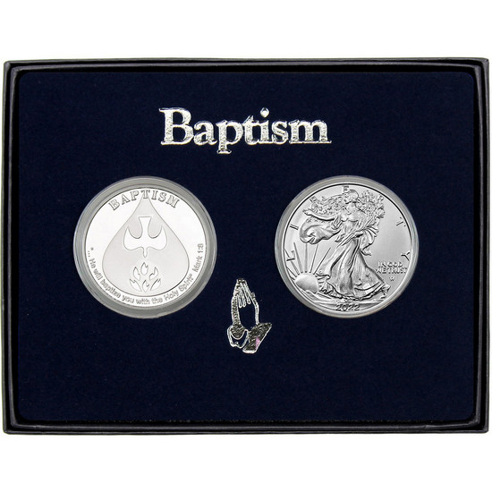 Baptism Silver Round and Silver American Eagle 2pc Box Set