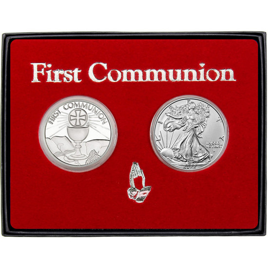 First Communion Silver Round and Silver American Eagle 2pc Box Set