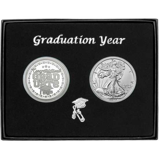 Graduation Year Silver Round and Silver American Eagle 2pc Box Set