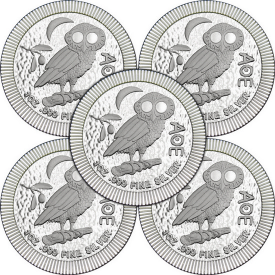 2017 Niue Silver Owl of Athena Stackables 1oz .999 Silver Coin 5pc