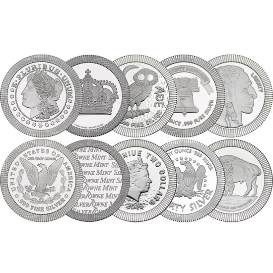 Mixed Design Stackables 1oz .999 Silver Medallion 10pc