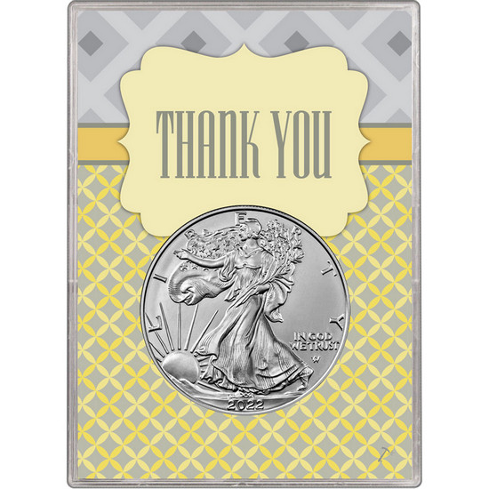 2017 Silver American Eagle BU in Thank You Gift Holder