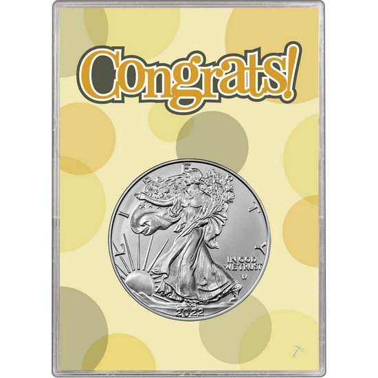 2018 Silver American Eagle BU in Congrats! Gift Holder
