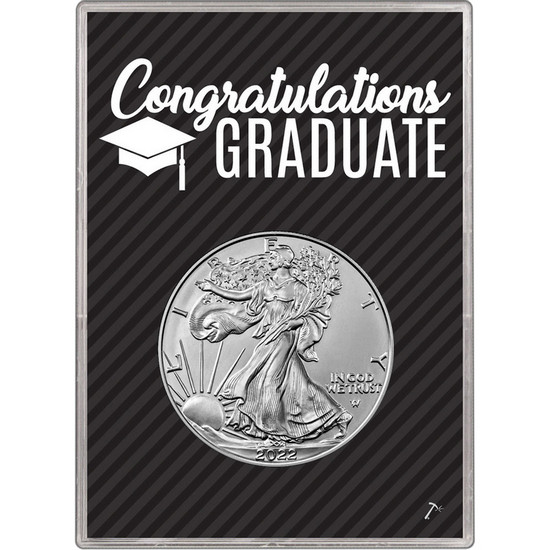 2017 Silver American Eagle BU in Graduation Gift Holder