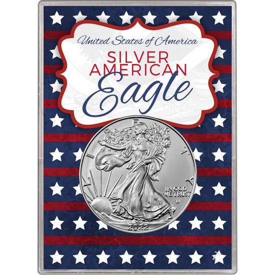 2017 Silver American Eagle BU in Patriotic Stars and Stripes Gift Holder
